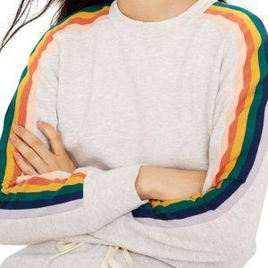 Madewell Rainbow Inset Crop Sweatshirt, Sz Sm